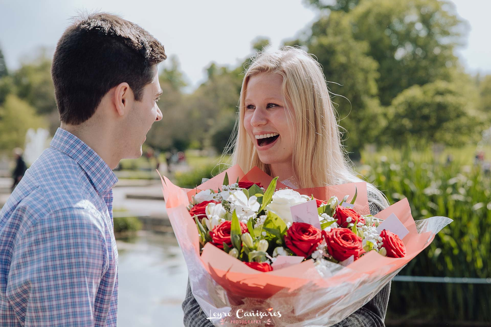 surprise proposal in The Italian Gardens in London, trey and jess